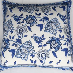 Aruna Cushion Cover with Blue and White Print