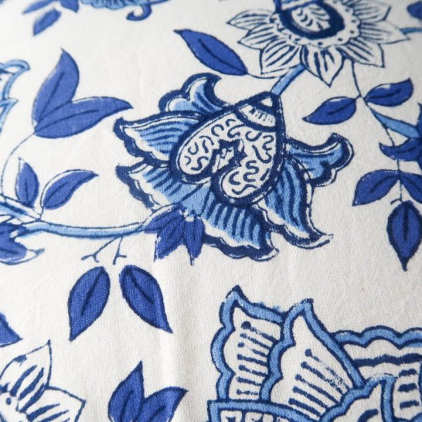 Aruna Cushion Cover with Blue and White Print Detail
