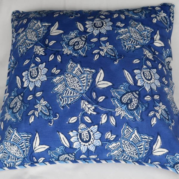 Aruna Cushion Cover with Blue and White Print back