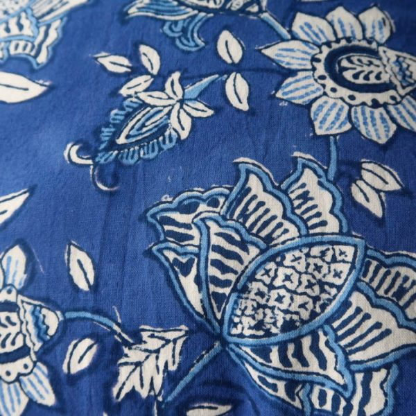Aruna Cushion Cover with Blue and White Print back detail