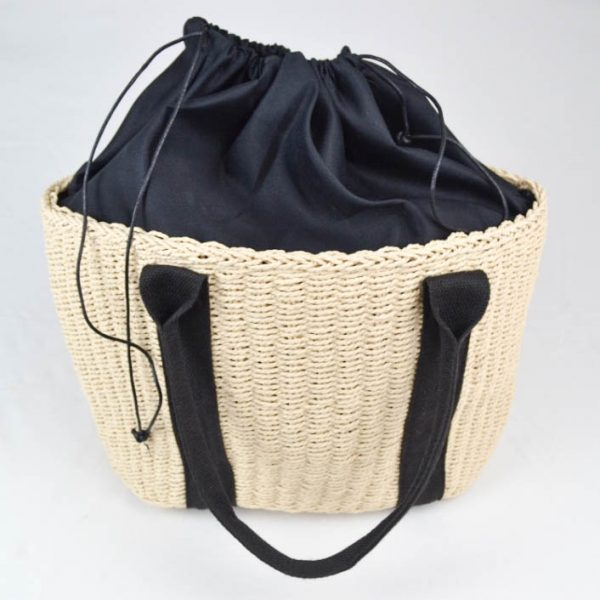 Mara Summer Tote Bag Creme and Black Inside Out