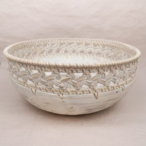 Bali Handmade Bowl Wood White Large