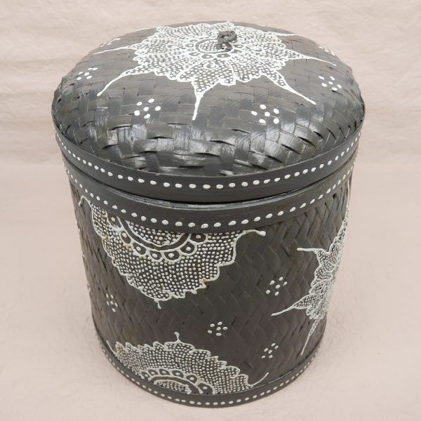 Bali Woven Round Box Grey and White Large