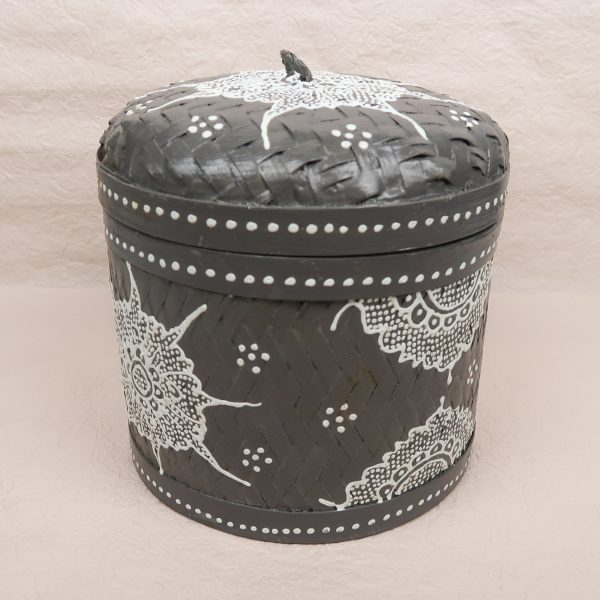 Bali Woven Round Box Grey Medium Front