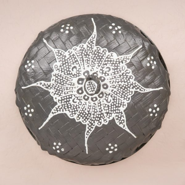 Bali Woven Round Box Grey Medium Lid