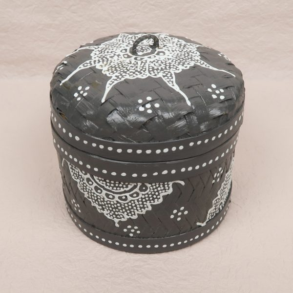 Bali Woven Round Box Grey Small