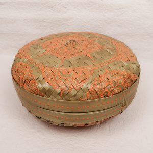Bali Woven Round Box Orange Small