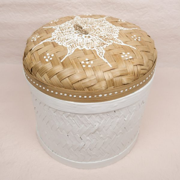Bali Handmade Woven Round Box White Medium
