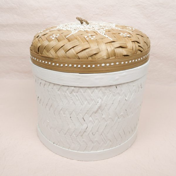 Bali Handmade Woven Round Box White Medium Front