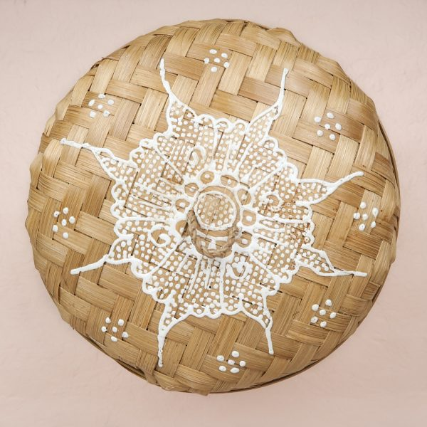 Bali Handmade Woven Round Box White Medium Lid