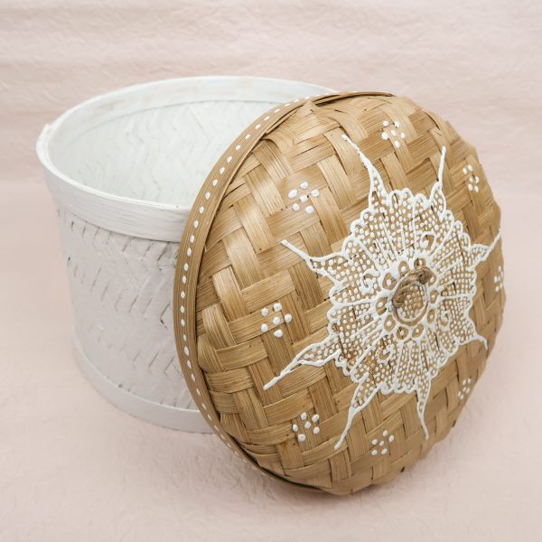 Bali Handmade Woven Round Box White Medium Lid Side