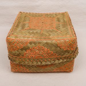 Bali Handmade Woven Square Box Orange Small
