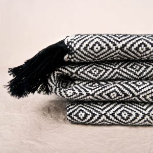 Fay Cotton Blanket Black and White Geometric Pattern Title