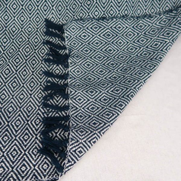 Fay Cotton Blanket Blue and White Geometric Pattern Flipped