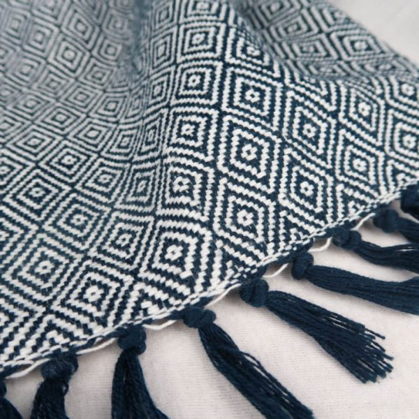 Fay Cotton Blanket Blue and White Geometric Pattern Tassel Detail
