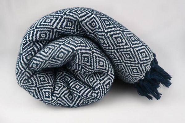Fay Cotton Blanket Blue and White Geometric Pattern Rolled