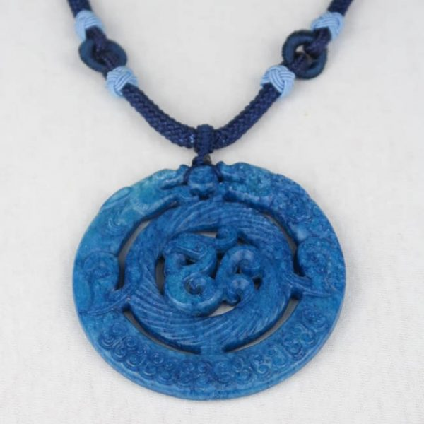 Chinese Medaillon Necklace Blue Detail