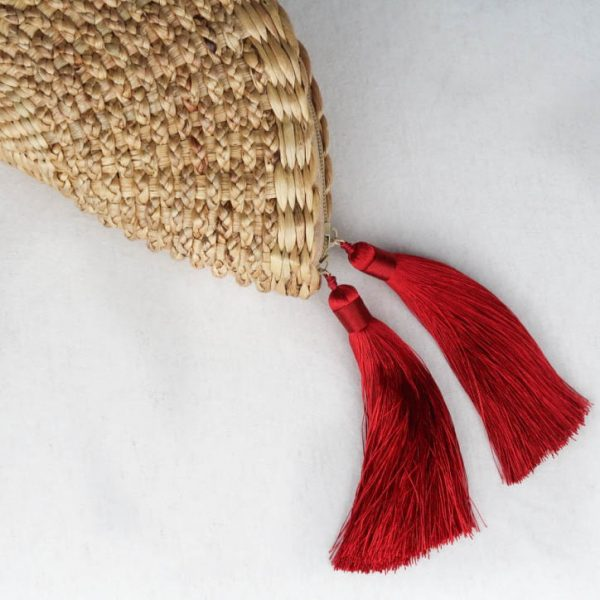 Suzie Woven Clutch Moon Shape with Red Tassel Detail Tassel