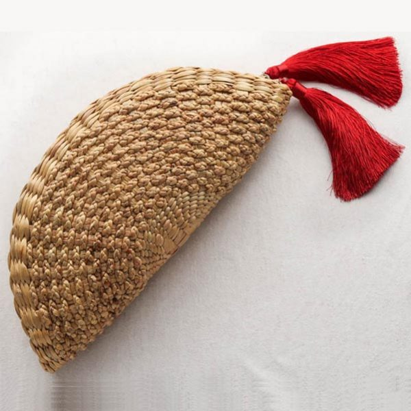 Suzie Woven Clutch Moon Shape with Red Tassel