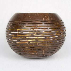 Coconut Candle Holder Gold Pattern