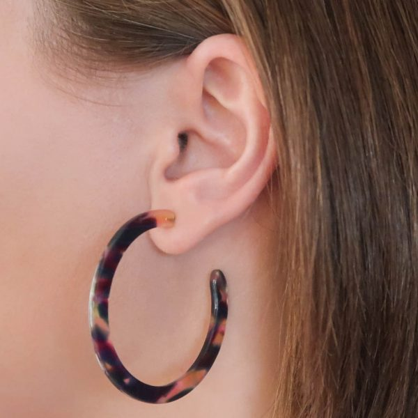 Electric Purple Hoop Earrings on Ear