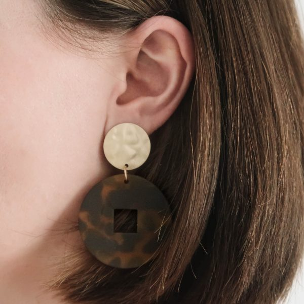 Safari Glam Resin Earrings dark brown gold black animal print on ear