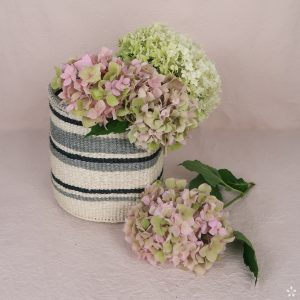 Handmade Sisal Basket Grey Small Flowers