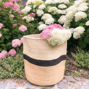 Handmade Sisal Basket Large Size Laundry Hamper Natural White Blocks Black Stripe