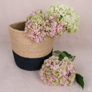 Handmade Sisal Basket Natural and Black Flowers