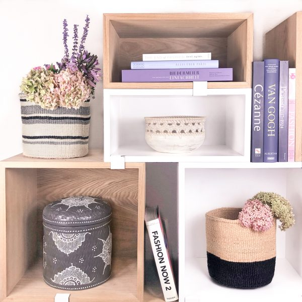Handmade Sisal Baskets Grey Woven Round Bali Box
