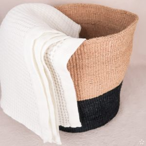 Handmade Sisal Laundry Hamper Basket Black Block Natural Towel