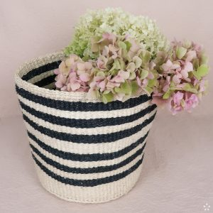 Handmade Sisal Small Basket Black Stripes Flowers