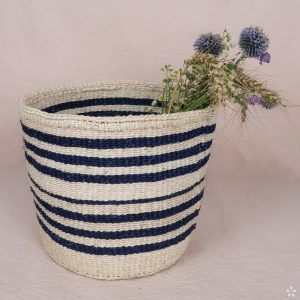 Handmade Sisal Small Basket Blue Stripes Flowers