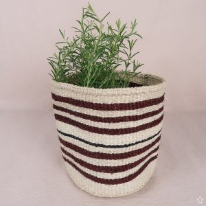 Handmade Sisal Small Basket Dark Red Stripes Rosemary
