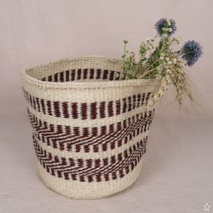 Handmade Sisal Small Basket Red Pattern Flowers