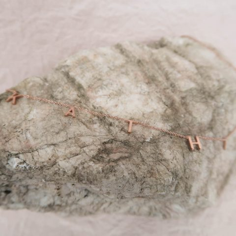 Custom Letter Necklace Rose Gold Heart Staged