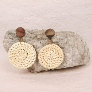 Lotti Rattan Earrings Ivory and Gold