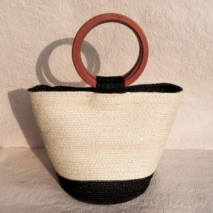 Louise Sisal Summer Bag Creme and Black