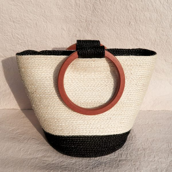 Louise Sisal Summer Bag Creme and Black Front