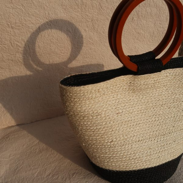Louise Sisal Summer Bag Creme and Black Side