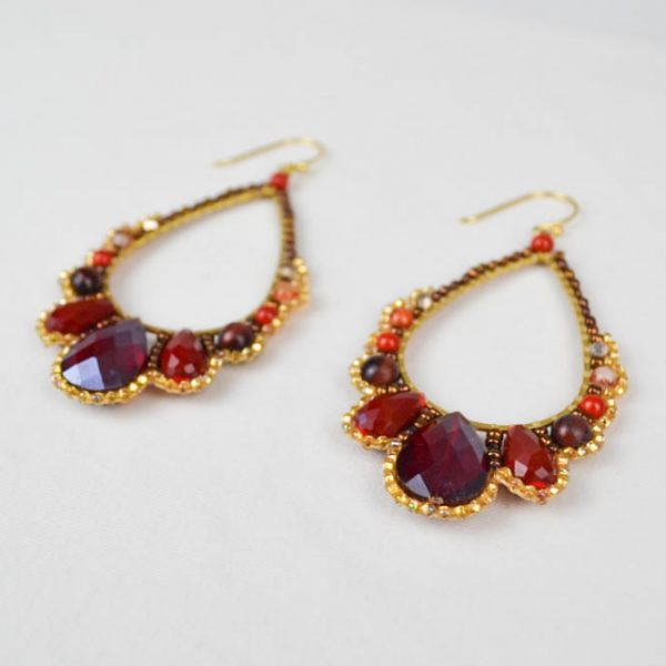 Fire Drop Earrings Red Perspective