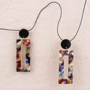 Eighties Square Dance Resin Earrings Dark
