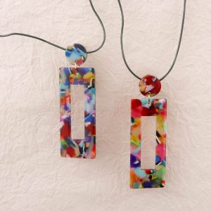Eighties Square Dance Resin Earrings Colourful