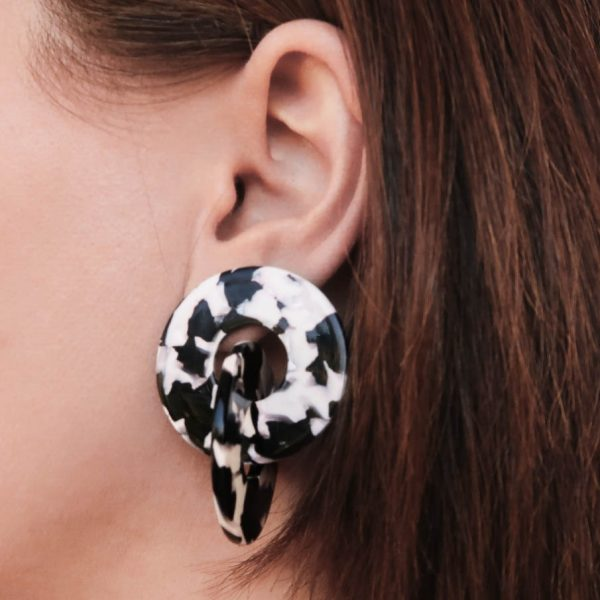 Resin Double Hoops Black and White on ear