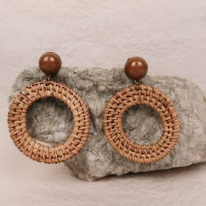 Lotti Rattan Hoop Earrings