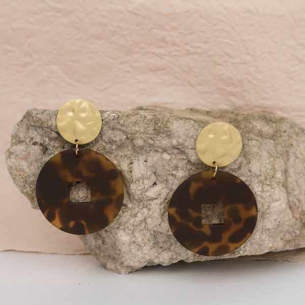 Safari Glam Resin Earrings dark brown gold black animal print