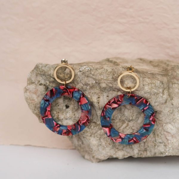 Dance Like in the 80s Resin Earrings Blue Pink Gold