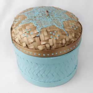 Bali Woven Round Box Turquoise Small