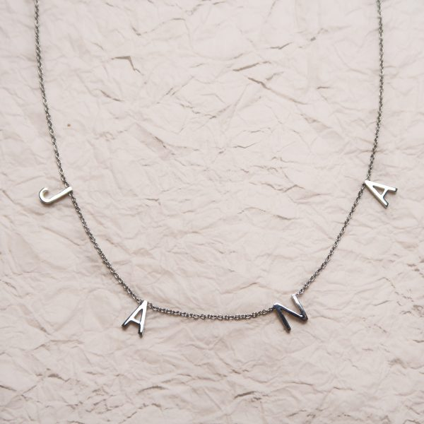Custom Letter Necklace Sterling Silver Front
