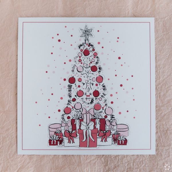 Christmas Card Fashion Illustration Pink Christmas Tree and Presents